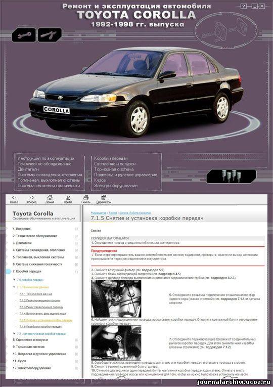 Cкачать ремонт и эксплуатация Toyota Corolla 92-98
